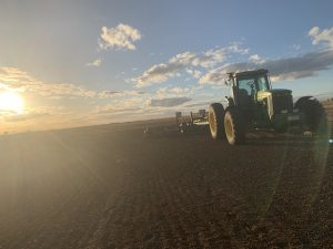 tractor in ploughed field