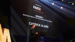 Carrick Aland Winner announcement at AAA 2021